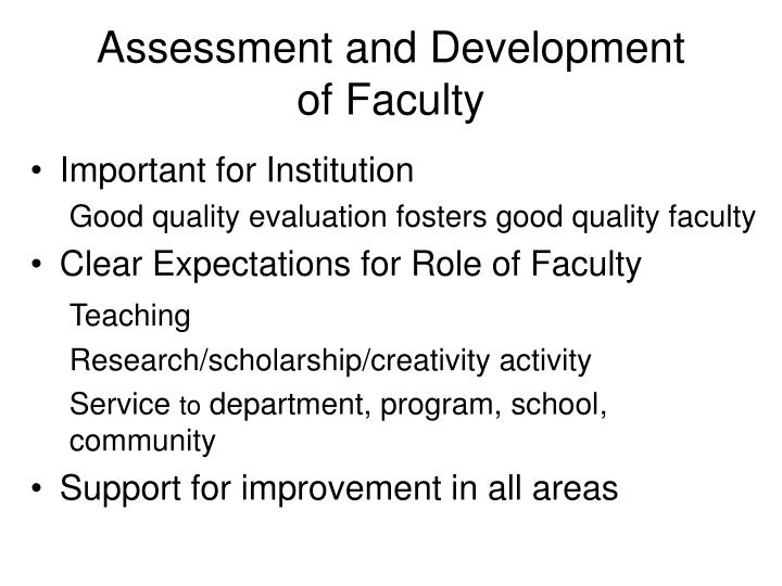 Assessment and development of faculty