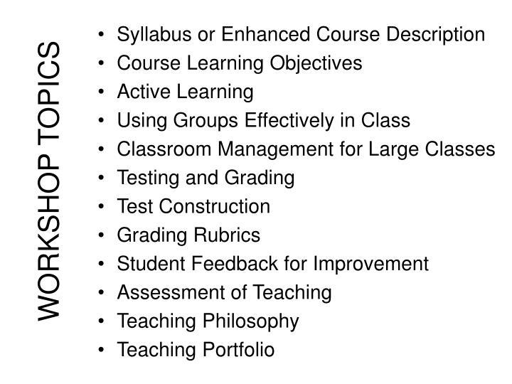 Syllabus or Enhanced Course Description