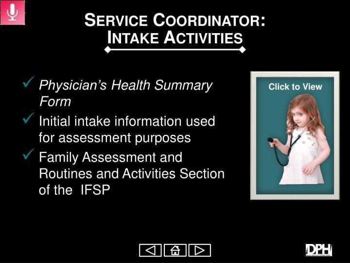 Service Coordinator: