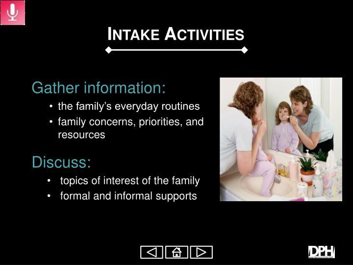 Intake Activities