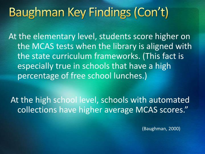 Baughman Key Findings