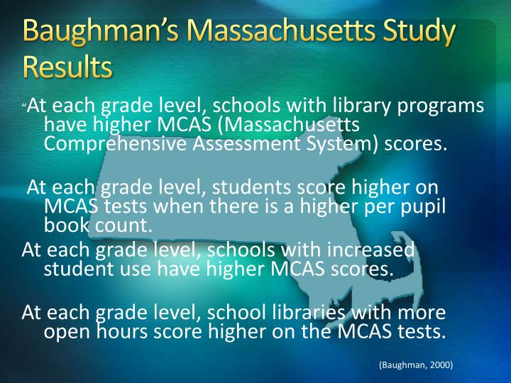 Baughman's Massachusetts Study Results