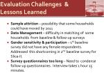 evaluation challenges lessons learned