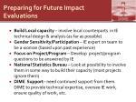 preparing for future impact evaluations