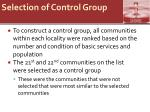 selection of control group
