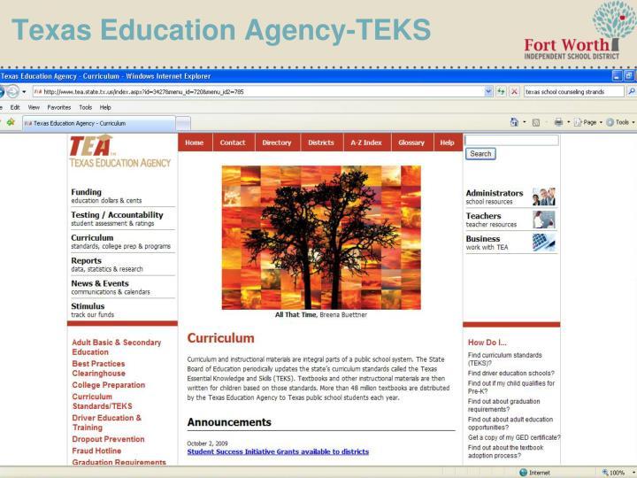 Texas Education Agency-TEKS