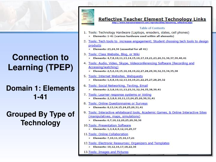 Connection to Learning (TPEP
