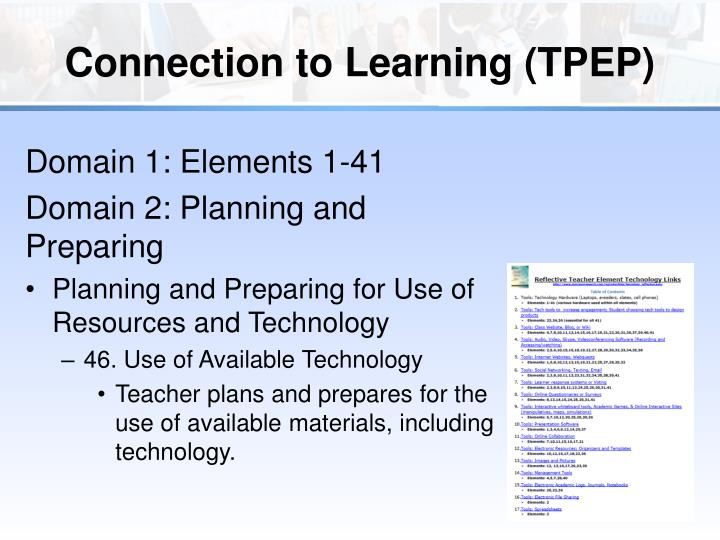 Connection to Learning (TPEP)