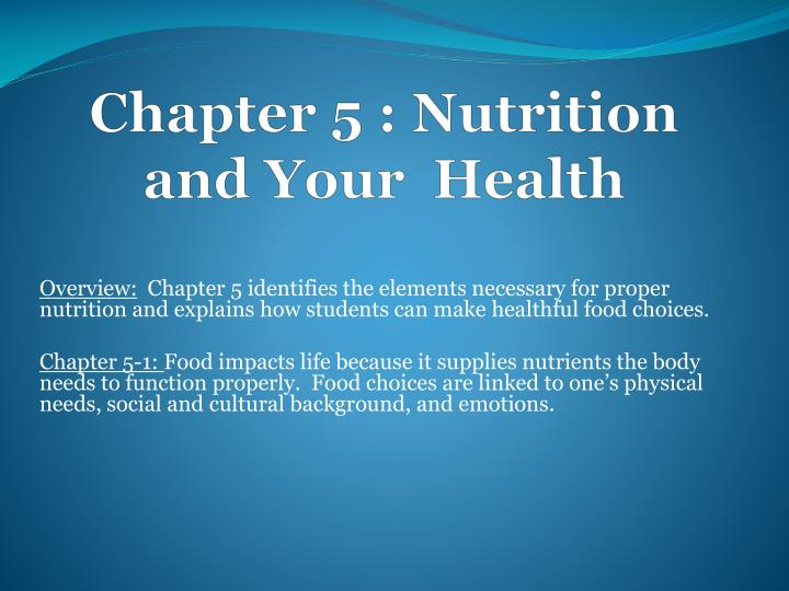 chapter 5 nutrition and your health n.