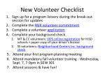 new volunteer checklist