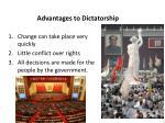 advantages to dictatorship