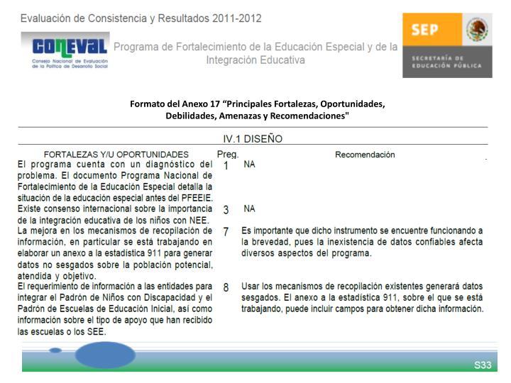 "Formato del Anexo 17 ""Principales Fortalezas, Oportunidades,"