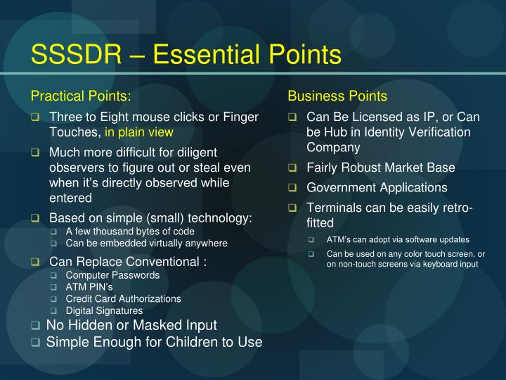 Sssdr essential points
