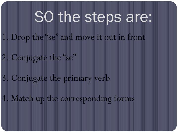 SO the steps are: