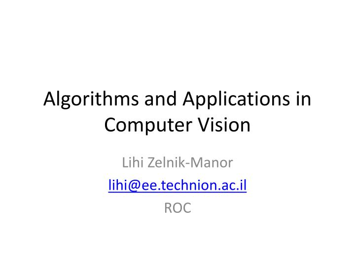 algorithms and applications in computer vision n.