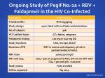ongoing study of pegifn 2a rbv faldaprevir in the hiv co infected