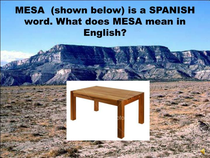 MESA  (shown below) is a SPANISH word. What does MESA mean in English?
