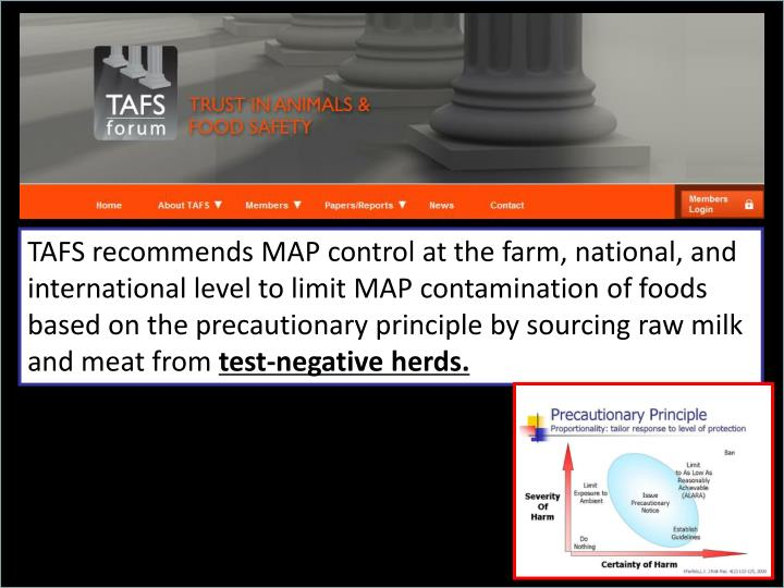 TAFS recommends MAP control at the farm, national, and international level to limit MAP contamination of foods based on the precautionary principle by sourcing raw milk and meat from