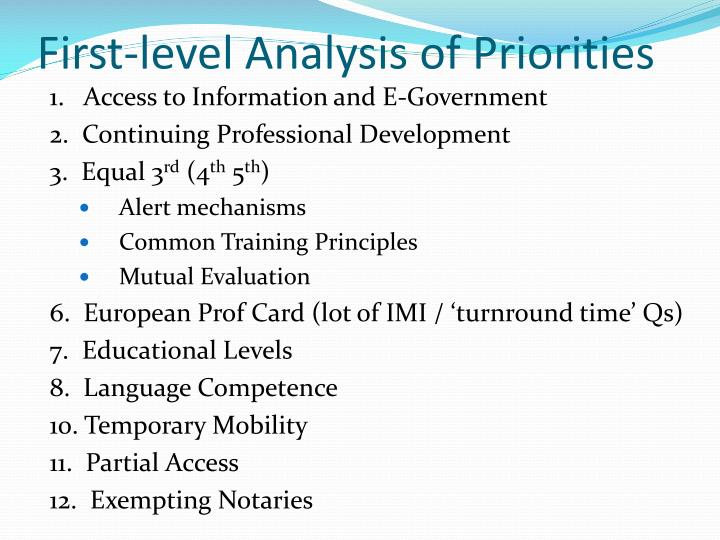 First-level Analysis of Priorities