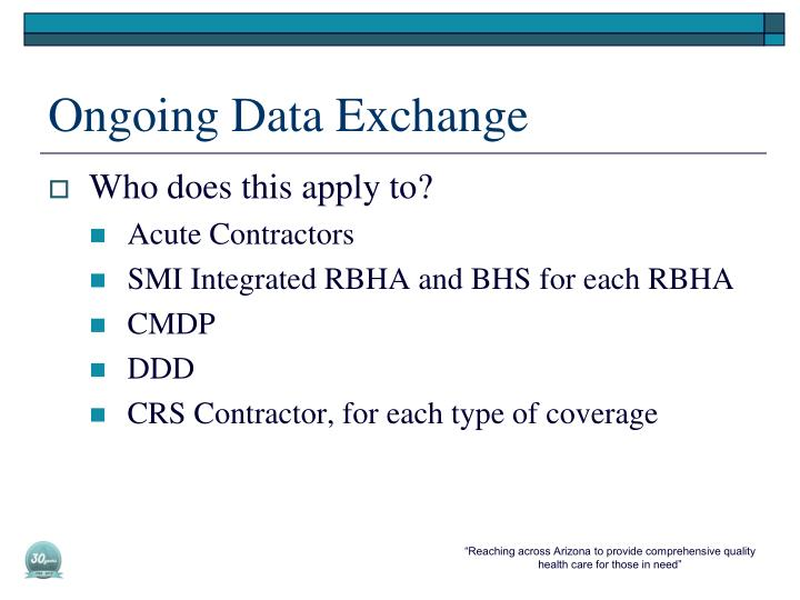 Ongoing Data Exchange