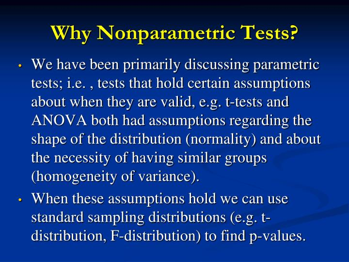 Why nonparametric tests