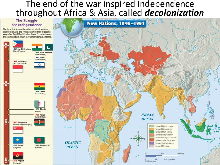 The end of the war inspired independence throughout Africa & Asia, called