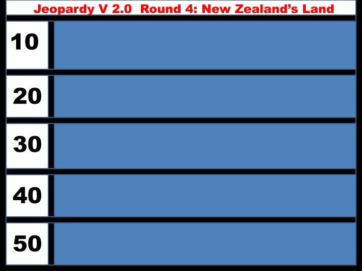 Jeopardy V 2.0  Round 4: New Zealand's Land