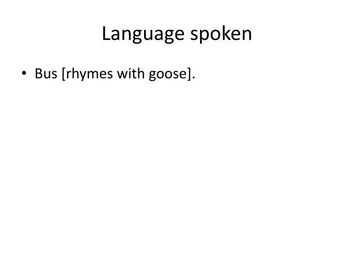 Language spoken
