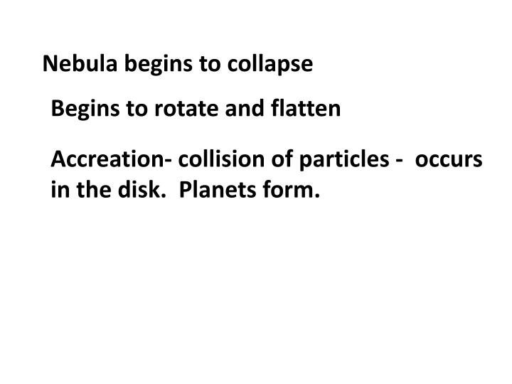Nebula begins to collapse