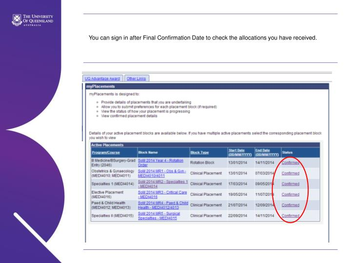 You can sign in after Final Confirmation Date to check the allocations you have received.