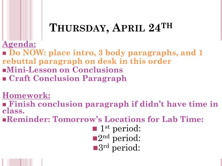Thursday april 24 th