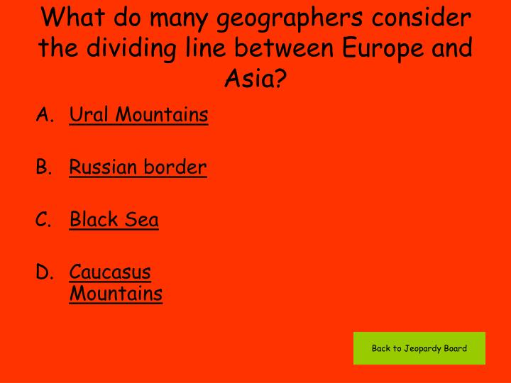 What do many geographers consider the dividing line between Europe and Asia?