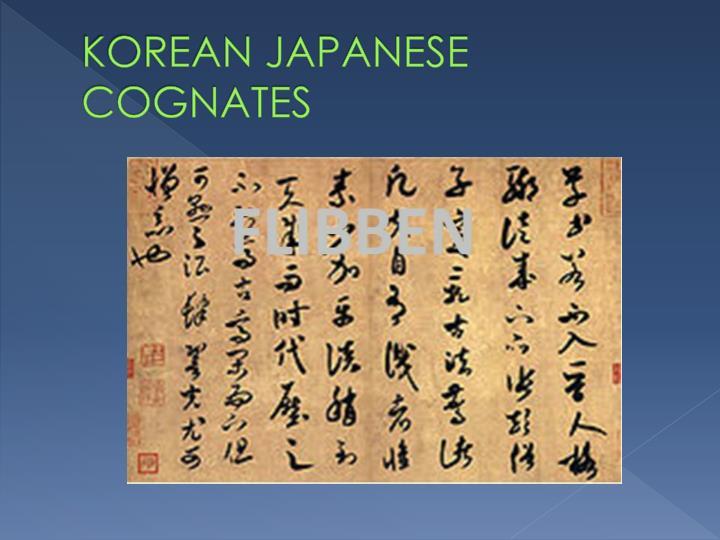 KOREAN JAPANESE COGNATES
