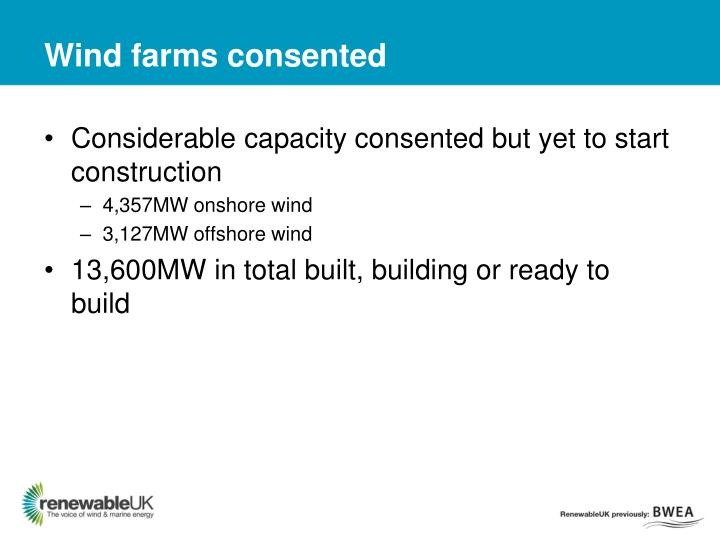 Wind farms consented