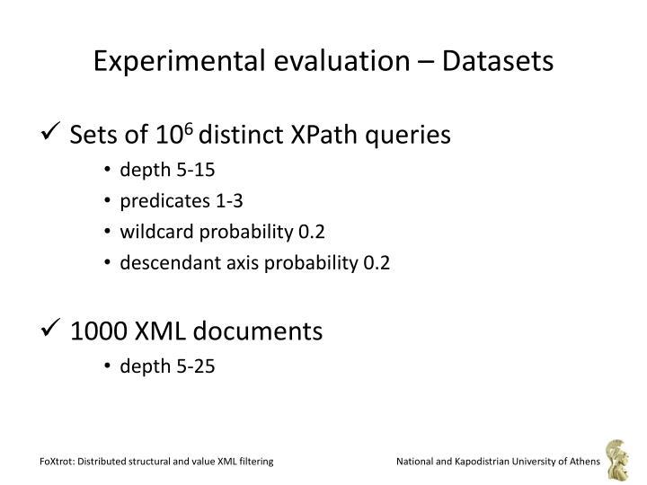 Experimental evaluation – Datasets