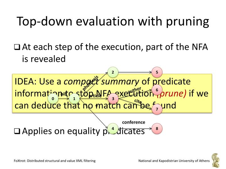 Top-down evaluation with pruning