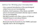 advice for writing your introduction