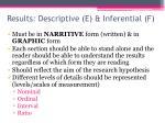 results descriptive e inferential f