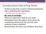 standardized debriefing notes