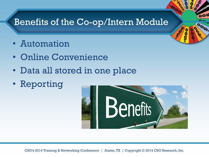 Benefits of the Co-op/Intern Module
