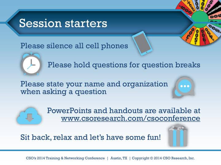Session starters