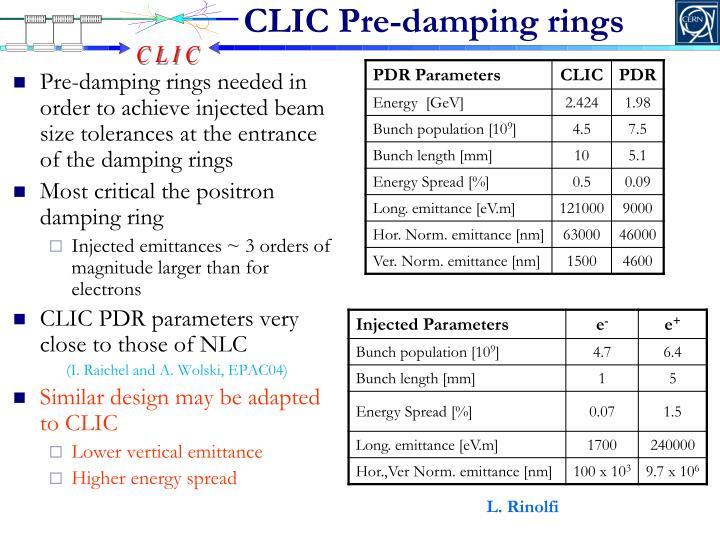 CLIC Pre-damping rings