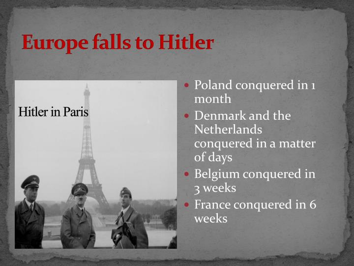 Europe falls to Hitler