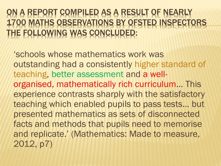 'schools whose mathematics work was outstanding had a consistently
