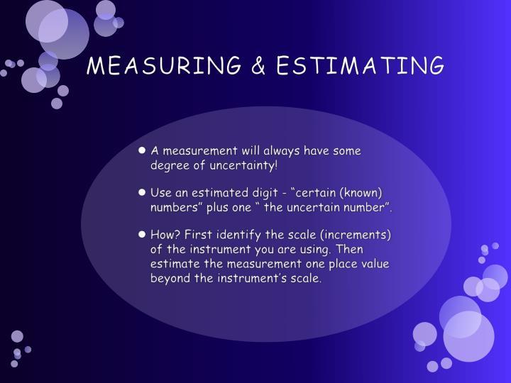 MEASURING & ESTIMATING