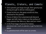 planets craters and comets