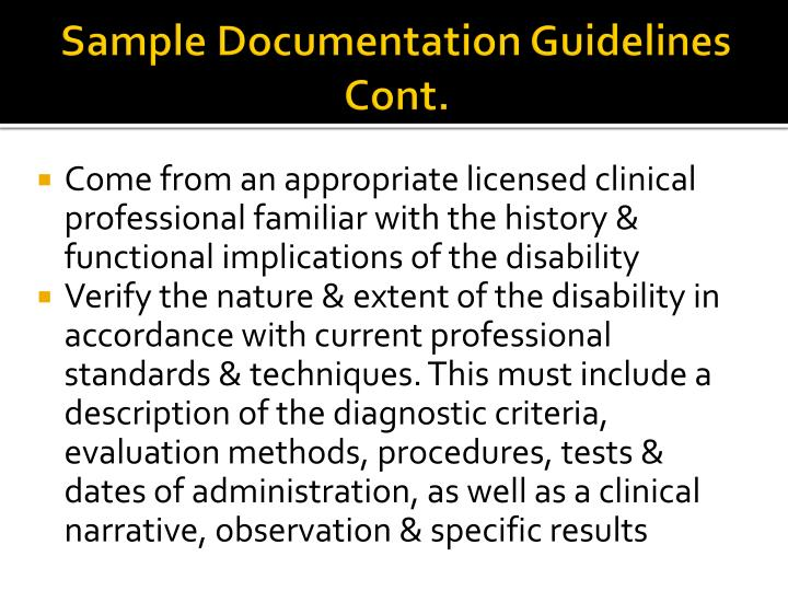 Sample Documentation Guidelines Cont.