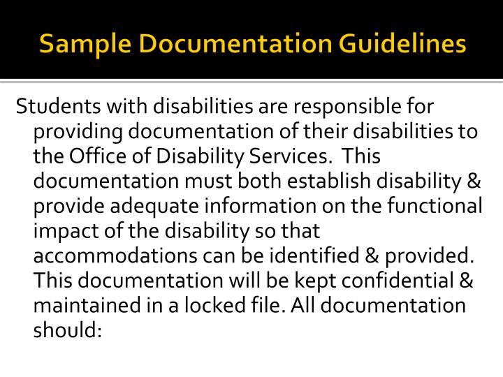 Sample Documentation Guidelines
