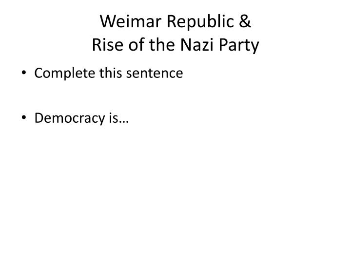 weimar republic rise of the nazi party n.