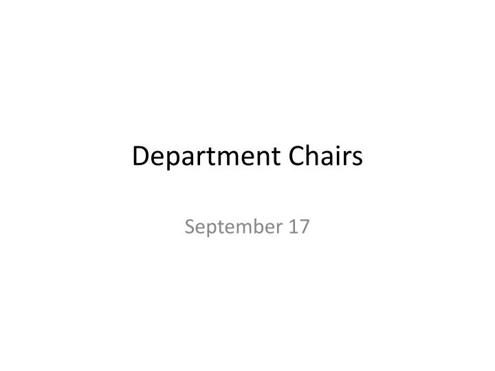 department chairs n.